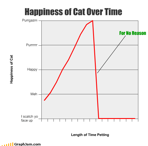 Happiness of Cat Over Time For No Reason