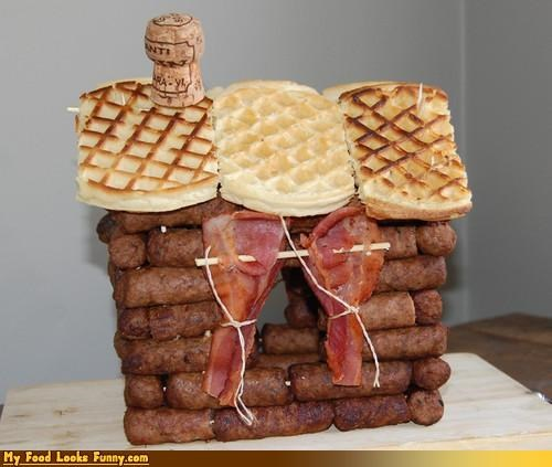bacon,breakfast,brunch,cabin,champagne,lincoln logs,meat,sausage,waffles