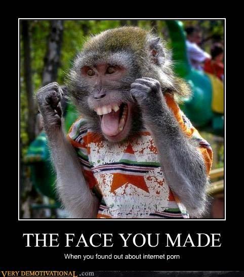 awesome face hilarious internet monkey pron shirt - 3542071552