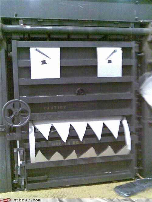 anthropomorphic boredom cartoon eyes creativity in the workplace cubicle boredom decoration dorky googly eyes hardware industrial machine shop machinery paper eyes paper signs personification - 3543076352