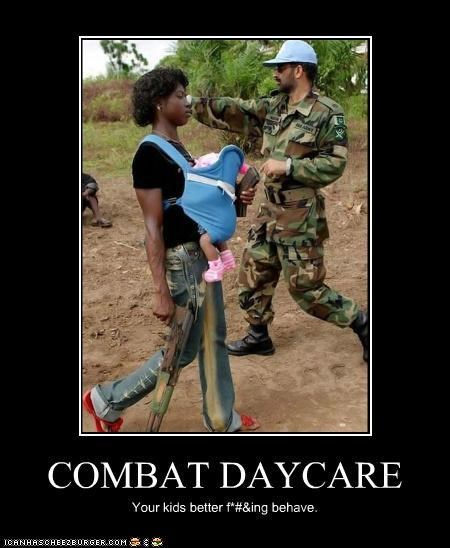 baby daycare guns scary soldiers wtf - 3544995840