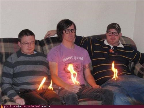 burning couch fire guys wtf yeowch - 3545832448
