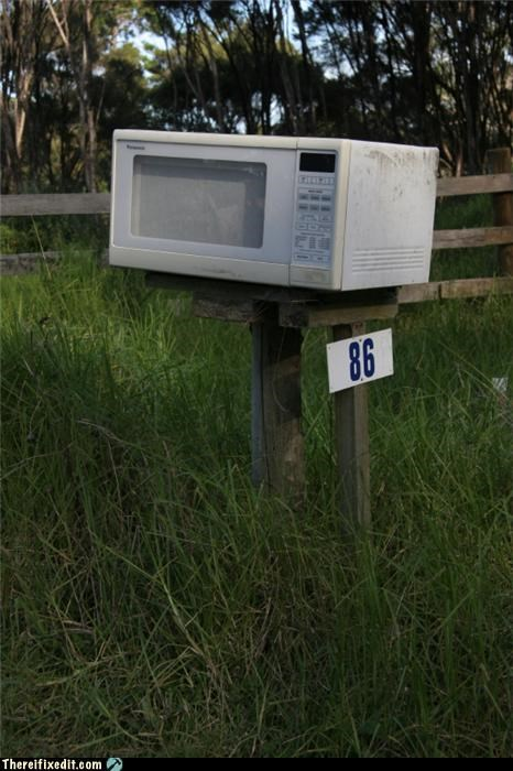appliance,fried,mailbox,microwave,rural
