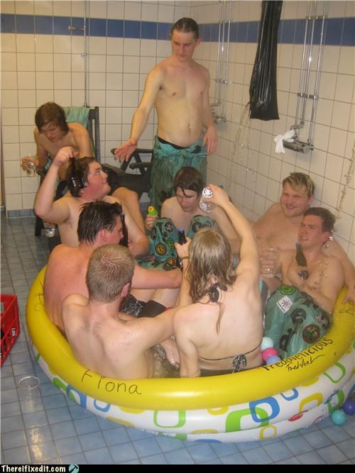 blow up,group activity,pool,public bathroom,shower
