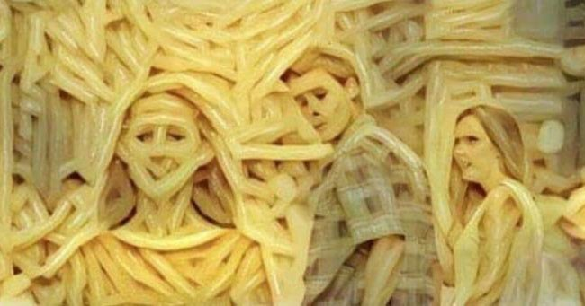 Funny memes that are put through a filter to make it look like they are spaghetti, chewbacca, star wars, anime, man of culture, donald trump, pepe the frog, ostagram.