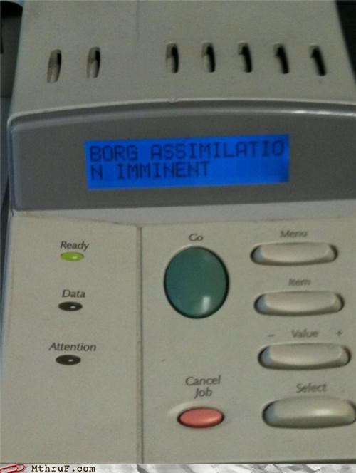 awesome basic instructions boredom borg clever console creativity in the workplace cubicle boredom cubicle prank dire warning equipment error message firmware tampering hack hardware ingenuity printer run in terror save yourselves threat warning wiseass - 3549407488