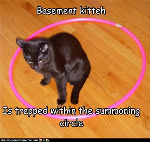 Basement kitteh Is trapped within the summoning circle