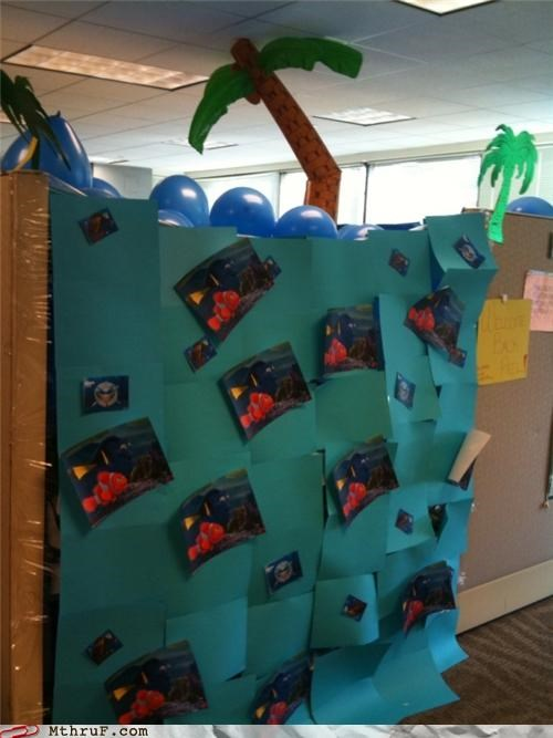 awesome Balloons boredom classic creativity in the workplace cubicle boredom cubicle prank decoration ergonomics hard work hardly working inflatable palm tree mess NEMO nice job osha Palm Tree prank punkd pwned screw you sculpture totally fired under the sea wiseass working hard
