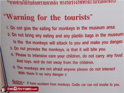 danger monkeys sign tourist warning - 3550087168