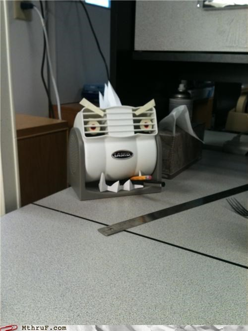 anthropomorphic art boredom cigarette creativity in the workplace cubicle boredom cubicle prank cute decoration fan gargoyle gonna die hardware killer murder eyes revenge robot uprising sculpture signage transformer vengeance wiseass