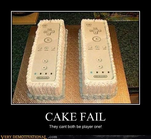 CAKE FAIL They cant both be player one!