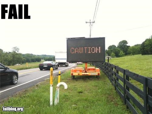 caution construction failboat g rated road sign