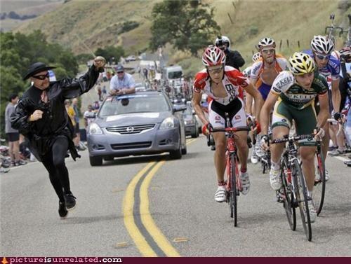 a gentlemans challenge,bikes,costume,race,wtf,zorro