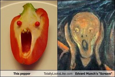 Edvard Munch,face,food,painting,pepper,The Scream