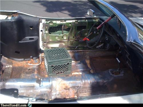 anti-theft,car,milk crate,rusted,stripped down