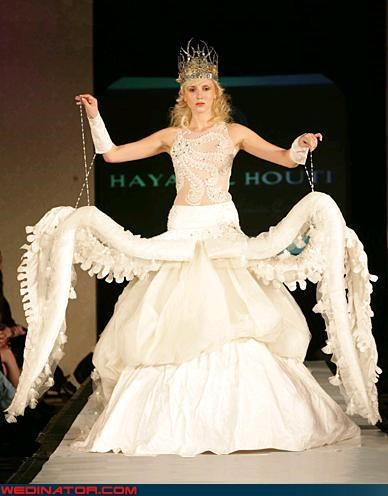 Crazy Brides dramatic fashion is my passion model octopus wedding dress runway tacky themed wedding dress weird wtf
