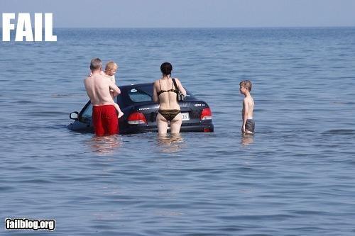 bad idea beach car driving failboat ocean summer fails - 3560264960