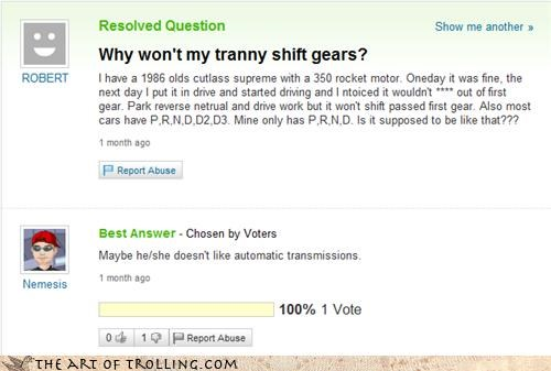 car question tranny trap