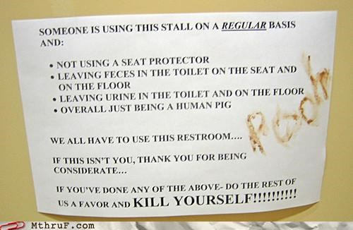 art barfing basic instructions bathroom cubicle rage decoration depressing dickhead co-workers dickheads disgusting feces finger painting fingerpainting gross hundred acre wood mess nasty paper signs pooh poop rage sass screw you signage Terrifying the gene pool needs some chlorine time to vomit toilet graffiti wiseass - 3560483840