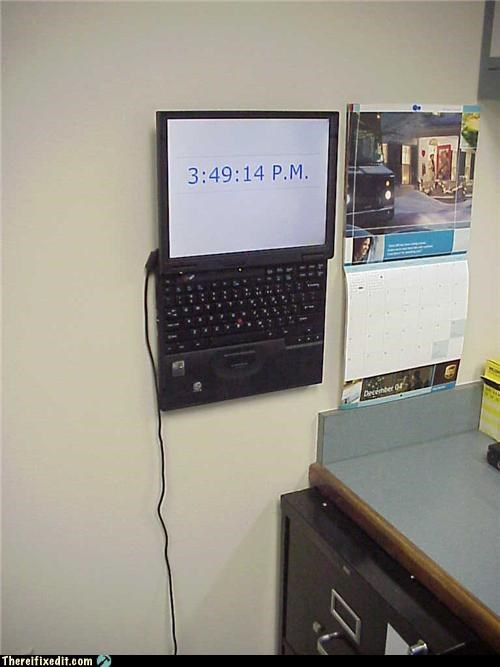 clock hanging up laptop not intended use Office recycling-is-good-right
