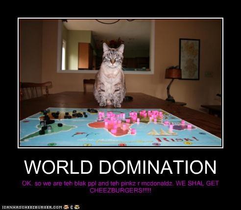 WORLD DOMINATION OK. so we are teh blak ppl and teh pinkz r mcdonaldz. WE SHAL GET CHEEZBURGERS!!!!!