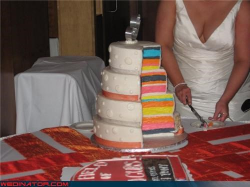 bride delicious Dreamcake multicolored Rainbow cake Sheer Awesomeness surprise wedding cake - 3562283776