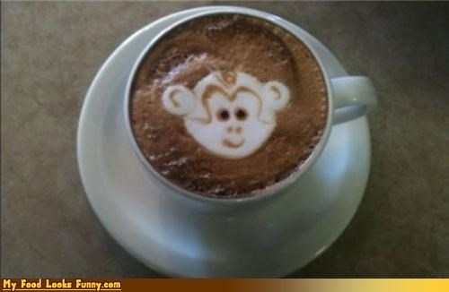 art,caffeine,cappuccino,cappuccino foam art,drink,foam,monkey