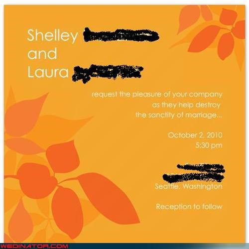 Crazy Brides hilarious holy union sense of humor Sheer Awesomeness were-in-love Wedding Invitation
