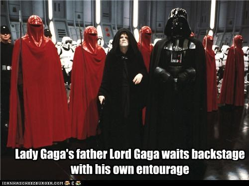 Lady Gaga's father Lord Gaga waits backstage with his own entourage