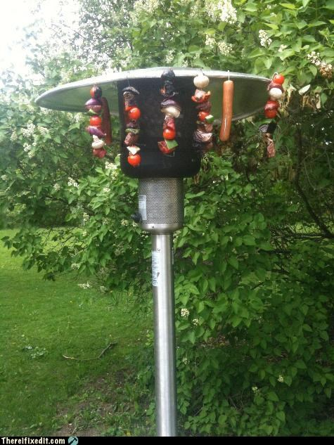 bbq heater kebobs make it work Mission Improbable outdoors
