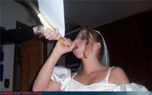 80s dress beer funnel wedding bride doing beer funnel Crazy Brides drunk bride eww fashion is my passion funny bride photo Funny Wedding Photo obliterated puffy sleeves technical difficulties wasted bride white trash wedding wtf