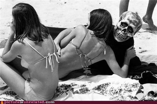 babes,beach,bikini,Death,skeleton,wtf