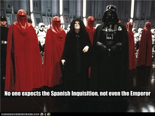 british comedy,darth vader,emperpr palpatine,monty python,movies,sci fi,star wars,the spanish inquisition