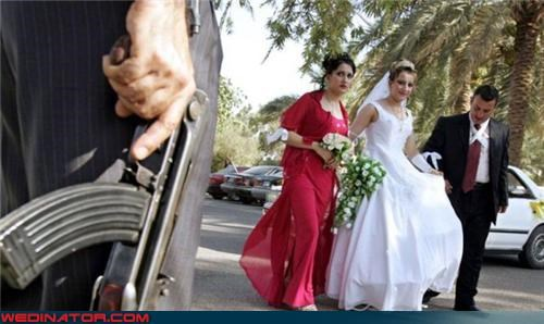 bride dont-invite-exes-to-your-wedding fashion is my passion funny wedding photos i-dont-get-it miscellaneous-oops professional wedding photography random wedding guest with a gun random wedding picture surprise weddings and weapons weird wedding picture wtf - 3566935040