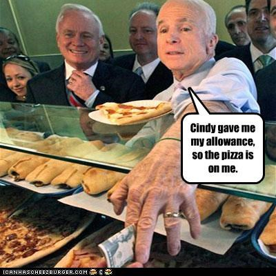 childish,Cindy McCain,food,john mccain,pizza,wife