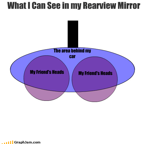 car,driving,friends,head,rearview mirror,venn diagram