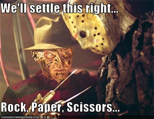 fight,freddy,horror,jason,movies,rock paper scissors