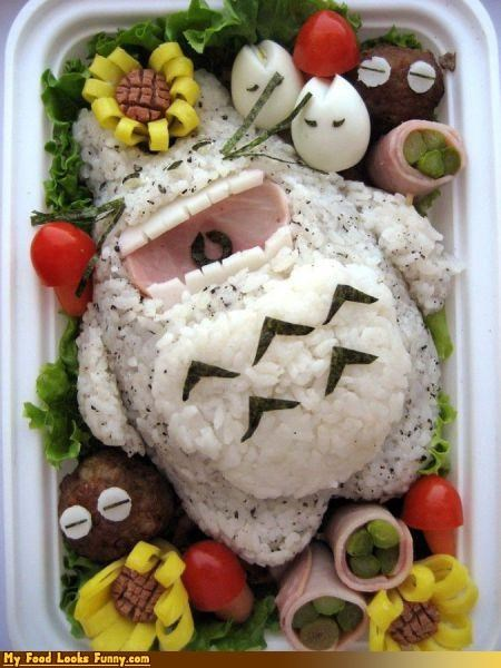 anime,bento,box,Japan,my neighbor totoro,rice,totoro