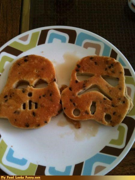 chocolate chips,darth vader,pancakes,star wars,stormtrooper,Sweet Treats
