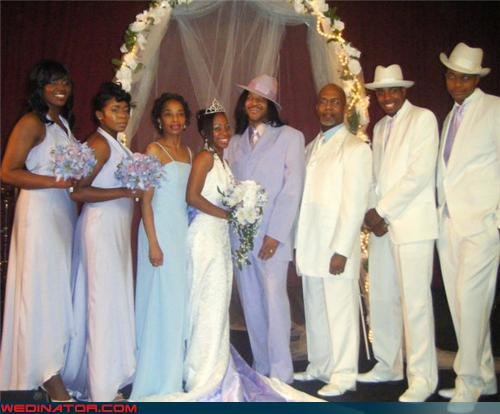 Bling,bride,fashion is my passion,flossin,funny wedding party photo,funny wedding photos,groom,groom is a pimp,groom pimp,matching groomsmen,pimp my bride,swagger,tiara,were-in-love,wedding party,Wedding Themes,white suit
