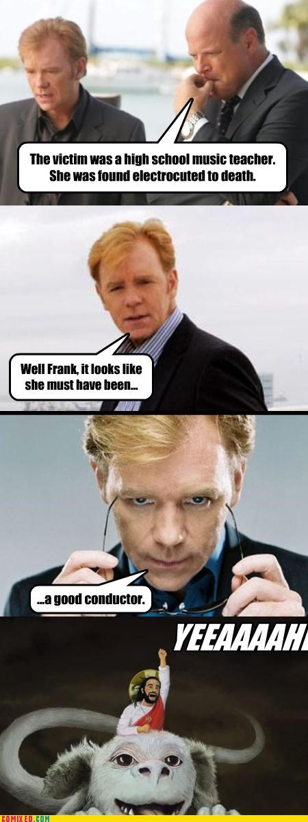 csi,falcor,From the Movies,Horatio,jesus,puns,TV,yeah
