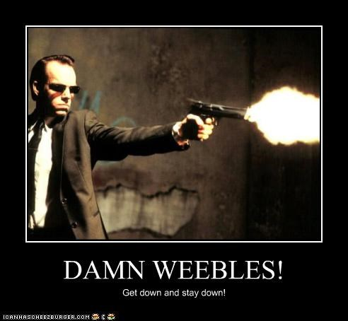 actor,fall,guns,Hugo Weaving,movies,the matrix,violence,weebles