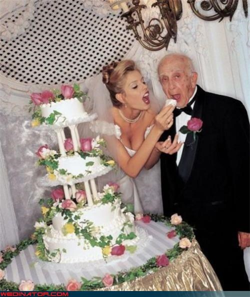 Crazy Brides,crazy groom,dentures,Dreamcake,eww,gold digger,Grandpa,gross,life insurance,model,old groom,surprise,technical difficulties,were-in-love,wedding cake,wtf