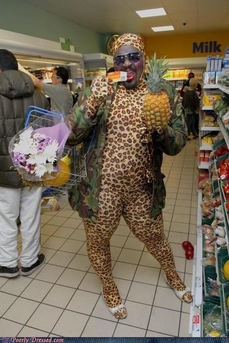 animal print,cat suits,just out for some groceries