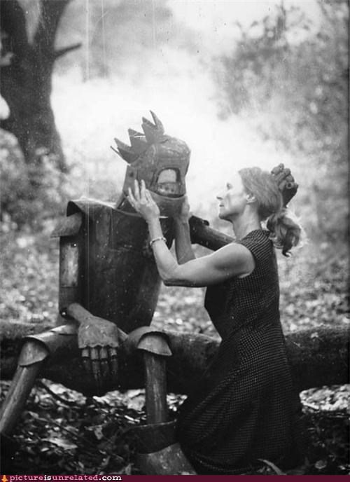 black and white,Forest,love,robots,vintage,woman,wtf