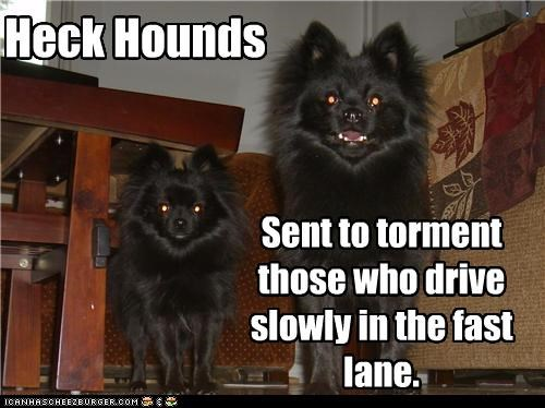Heck Hounds Sent to torment those who drive slowly in the fast lane.