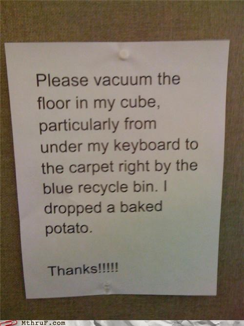 awesome co-workers not baked potato basic instructions cleaning service depressing dickheads food jerk lazy letter mess note paper signs pig plea request Sad screw you signage slob sloth stain vacuum - 3579389184