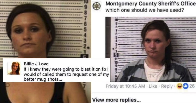 Woman is getting roasted on Facebook after asking the police department for a more flattering mugshot.