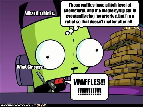 cartoons,cute robots,dummy,food,GIR,Invader Zim,waffles
