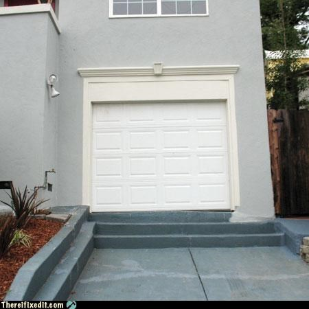 doing it wrong,driveway,garage,steps